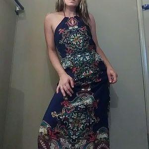 Blue Halter Maxi Sun Dress w/ Floral Pattern